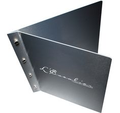 Boxes      Retail      Luxury      Multimedia      Folders / Binders      Slipcases      Envelopes      Menus      Metal      Wood      Plastics        About      Contact      Links        Visit our blog        Receive e-news    Title:      Restaurant menu cover  Client:      L'Escalier  Materials:      Promolyte  Processes:      Etch, interscrew