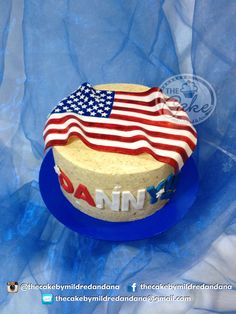 God Bless America In a not that naked cake. American Flag Cake, God Bless America, Fondant Cakes, Cake Recipes, Cake Decorating, Red And White, Naked, Birthday Cake, Sugar