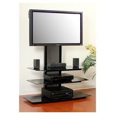 Swivel Floor Tv Stand With Mount And Shelves For 32 To 50 Inch Tv