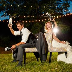 Looking for a fun game to play at your engagement party or wedding? How abut the wedding shoe game? Here are our favorite question ideas and fun photos!