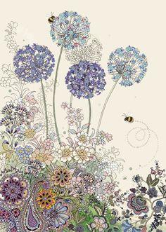 Bug Art B022 Purple Alliums greetings card