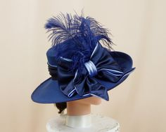 Navy Blue Hat * Kentucky Derby Hat * Blue Wide Brim Hat * Church Hat * Blue Formal Hat * Fashion Hat * Ascot Hat * Blue Feather Hat by englishrosedesignsoh on Etsy