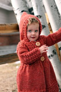 Things knit in bulky weight yarn work up quickly. Free Knitting Pattern for child's sweater with hood - little red riding hood: Phoebe's Sweater by Joanna Johnson. Knitting For Kids, Free Knitting, Knitting Projects, Baby Knitting, Baby Patterns, Knitting Patterns, Baby Clothes Patterns, Sweater Patterns, Clothing Patterns