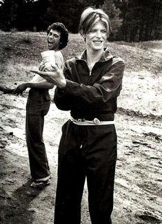 vezzipuss.tumblr.com — David Bowie & Geoff MacCormack on location,...