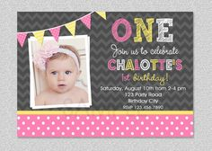 Girls 1st Birthday Invitation Chevron Polka Dot On Etsy 1500 Yellow