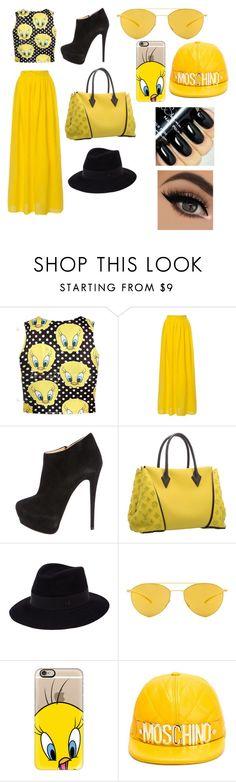"""Black and yellow"" by veffi23 ❤ liked on Polyvore featuring Giuseppe Zanotti, Louis Vuitton, Maison Michel, Mykita, Casetify, Moschino, women's clothing, women's fashion, women and female"
