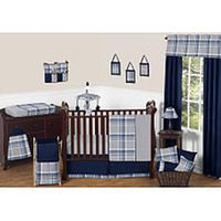 Sweet Jojo Designs Navy Blue and Gray Plaid 11 Piece Baby Crib Bedding Set
