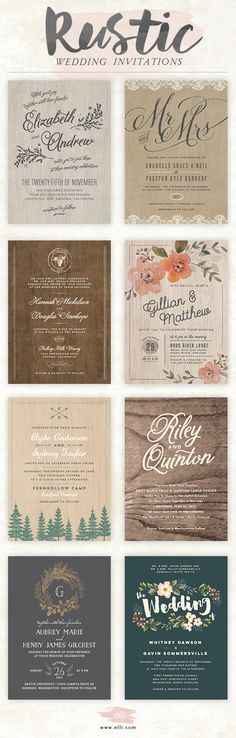 Rustic wedding invitations from elli.com. Customize any design for free.