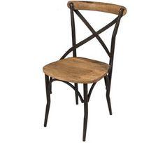 Lot 2 chaises style industriel bois et fer