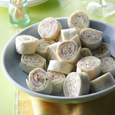 Salami Roll-Ups Recipe -These bite-size appetizers are a cinch to make with just four ingredients—even your kids can help you with them!