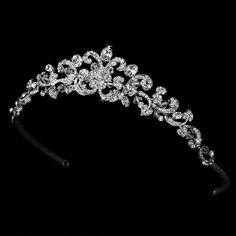 Swarovski Crystal Wedding Tiara Antique Silver Clear StressAwayBridalShop.com