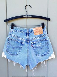 74468500c65c Levi High Waisted Shorts with Lace Patch - Distressed - Sizes 0 2 4 6 8