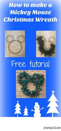 Make a Mickey Mouse Christmas wreath. Bring a piece of Disney home for the holidays with this easy to make DIY Mickey wreath. Disney Christmas Decorations, Disney Ornaments, Disney Home Decor, Christmas Wreaths To Make, Christmas Holidays, Christmas Ideas, Disney Holidays, Modern Christmas, Xmas Ornaments