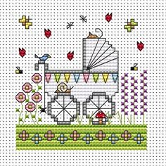 Garden Pram Cross Stitch Card kit (New Baby)