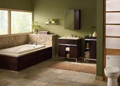 green and brown interior designs   ... Green Bathroom Designs With Plain Green Paint And Dark Brown Cabinets