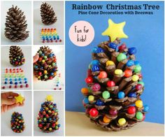 Rainbow Pine Cone Christmas Tree