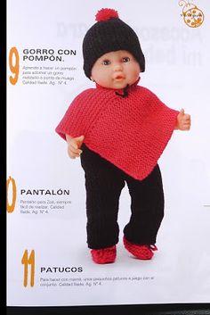 Estos gráficos los encontré, así que los comparto con todas vosotras:      Aquí el patrón a seguir del poncho:    El patrón del gorrito:    ... Knitted Poncho, Knitted Dolls, Knit Crochet, Crochet Hats, Baby Born, Christmas Baby, Knitting Stitches, Kids Wear, Dress Making