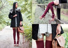 Get this look: http://lb.nu/look/1718521  More looks by Nicole Warne: http://lb.nu/garypeppervintage  Items in this look:  Modcloth Coat, Gary Pepper Vintage Bag, Topshop Socks, Miu Miu Heels, Shona Joy Lace Dress