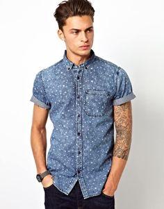 River Island Denim Shirt With Star Print
