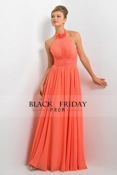 2016 Halter Ruffled Bodice A Line Floor Length Bridesmaid Dress Chiffon US$ 106.99 BFP9K1K9NH - BlackFridayProm.com