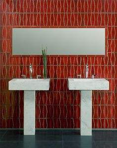 Heath Ceramics Diamond dimensional tile.  There are actually 2 shapes here -- this is the same as the blue tile I mentioned for the kitchen.  In the red it's a really rich color for a powder room.