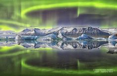 Aurora reflected in a Glacial Lagoon