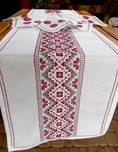 Embroidered table runner and napkins Table runner hand embroidered Long runner Vintage table runner Handmade table topper Decorative runner – Herzlich willkommen Cross Stitch Designs, Cross Stitch Patterns, Cross Stitch Geometric, Handmade Table, Black Thread, Table Toppers, Vintage Table, Filet Crochet, Table Runners