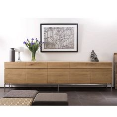 Solid wood sideboard with doors and drawers Solid wood sideboard Oak Ligna Collection by Ethnicraft Sideboard Modern, Solid Wood Sideboard, Sideboard Cabinet, Modern Buffet, Sideboard Ideas, Vintage Sideboard, Tv Furniture, Furniture Design, Contemporary Living Room Furniture
