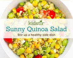 On your next summer picnic, pack up this colorful high-protein salad. It's made with quinoa, edamame, corn, and other veggies (we bought frozen corn and frozen shelled edamame to make things simple). The kids will eat it up!