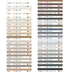 Color Chart lists the different names used by Kohler, Toto