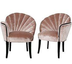 French Boudoir Chairs C. 1920s: Shell Design, Channeled Backs.