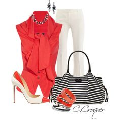 White & Red Shoe, created by ccroquer on Polyvore
