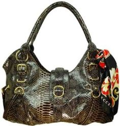 Vecceli Italy Snake Skin Embossed Brown Handbag Designed by Ronella Lucci AS-165SNKBRN