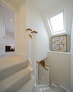 This Mansard loft conversion has included a roof window in the stairwell to brighten up the space with daylight and starlight. Interior, Home, Loft Conversion Stairs, Bedroom Loft, Loft Stairs, Loft Room, Loft Spaces, Loft Staircase, Urban Interiors