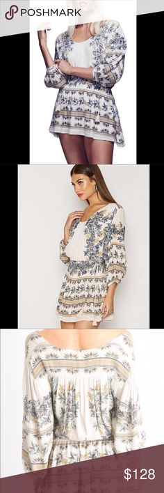 FREE PEOPLE floral print tunic dress FREE PEOPLE Printed dress with cinched tie waist. Smocked for a flexible fit and cape sleeves. 1940189   Retail: $128 Size: XS, S, M, L  ❤I have over 300 new with tag Free People items for sale! I love to offer bundle discounts!  ❤No trades. love the item but not the price? Submit an offer! Free People Dresses Mini
