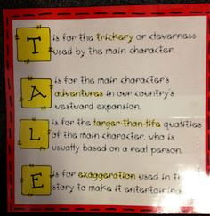 Elements of Tall Tales. Working on figurative language with my students.Here is a simple way to help them remember the elements of tall tales (and hyperbole). Library Lessons, Reading Lessons, Reading Resources, Teaching Reading, Teacher Resources, Teaching Ideas, Reading Skills, Reading Activities, Library Ideas