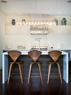 I am smitten with the Norman Cherner bar stools. Designed in 1958 by Norman Cherner, the molded plywood stools are to this day regarded a. Kitchen Interior, Kitchen Inspirations, Interior, Contemporary Kitchen, Home Decor, House Interior, Kitchen Dining Room, Home Kitchens, Kitchen Stools