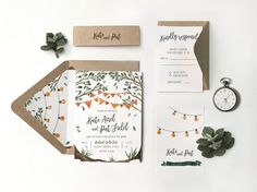 Rustic String of lights Wedding Invitation by sweetdatesprints