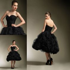 short black wedding dresses  black-color-ruffle-front-short-and ...