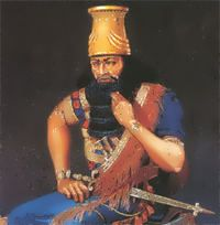 Fashion history: The costume of Assyria and Babylonia.    Man's aesthetic ideal of beauty was reflected in Assyrian culture and especially in the king's ideal image.  Individual features of king were never described by painters. For this reason, an exaggerated muscular system, naked arms and legs, thick long hair and beard show us that idea of beauty implies great physical strength, massive features, gorgeous hairstyle and thick beards.