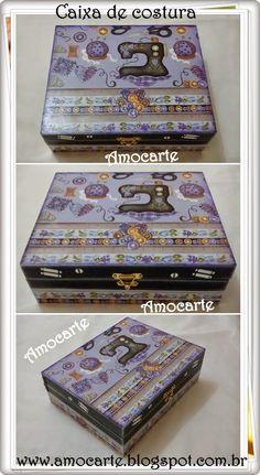 Peça organizadora - Caixa de costura com detalhe em relevo - mdf madeira http://www.amocarte.blogspot.com.br/