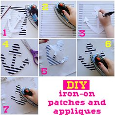 Make It: DIY iron-on patches and appliques, you could also embroider on the fabric before attaching the iron-on backing.