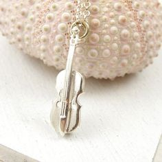 Violin necklace , sterling silver necklace , small necklace , music necklace on Etsy, $32.00