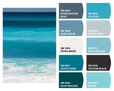 Sherwin-Williams: great beach paint colors- middle one for a furniture re-do Beach Paint Colors, Ocean Colors, Beach Color, Wall Colors, Paint Colours, Exterior Paint Colors For House, Paint Colors For Home, Exterior Colors, House Colors