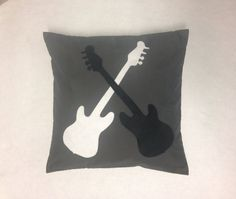Rock & Roll Guitar Pillow Cushion Cover Novelty by BeUniqueBaby Bedroom Ideas For Teen Girls Tumblr, Teen Girl Bedrooms, We Will Rock You, Music Things, Silver Hair, Wood Work, Rock Music, Musical Instruments, Dorm Room