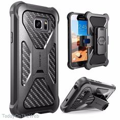 Samsung Galaxy S7 Active i-Blason Armorbox Black Swivel Holster Belt Clip Case #iBlason