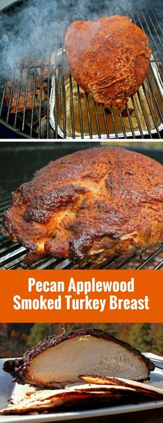 With very little effort required, this pecan applewood smoked turkey breast is rubbed with a simple poultry seasoning, smoked over a pan of cranberry infused water for a moist smoking environment, wit Traeger Recipes, Smoked Meat Recipes, Grilling Recipes, Grilling Tips, Smoker Turkey Recipes, Venison Recipes, Rib Recipes, Sausage Recipes, Fall Recipes