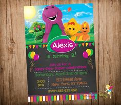Barney Party Invitation Barney and Friends by CutePartyFairy