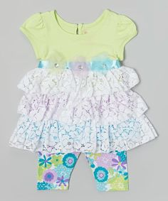 Look what I found on #zulily! Green Lace Ruffle Top & Green Leggings - Infant & Girls #zulilyfinds