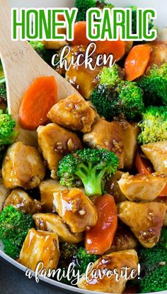 This honey garlic chicken stir fry recipe is full of chicken, broccoli and carrots, all coated in the easiest sweet and savory sauce.